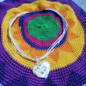 Jewelry - White Glass Heart Necklace with Cording and Ribbon